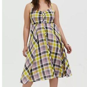 Torrid Dress checkerboard plaid lightwaight NWT